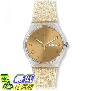 [美國直購] Swatch SUOK704 Golden Dial Golden Sparkle Silicone Ladies Watch 手錶