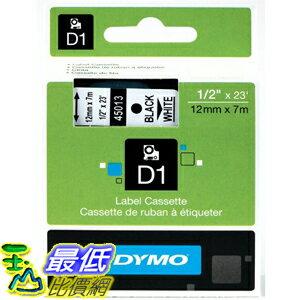 [美國直購] DYMO 45013 標籤機專用 標籤帶 Labeling Tape, Black Print on White Tape D1 Label Cassette