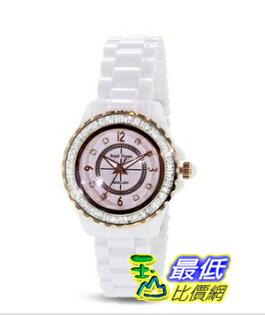 [103 美國直購] White 手錶 Ceramic Watch with Crystal in 18K Rose Gold Plated Stainless Steel (128933) $3937