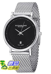 "[美國直購 USAShop] Stuhrling 手錶 Original Men's 734GM.02 Ascot ""Casatorra Elite"" Stainless Steel Mesh Black Dial Watch $2670"