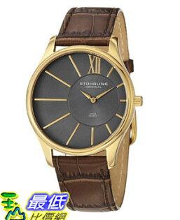[美國直購 USAShop] Stuhrling 手錶 Original Men's 553.3335K54 Classic Cuvette SD 23k Yellow Gold-Plated Stainless Steel and Brown Leather Strap Watch $3344
