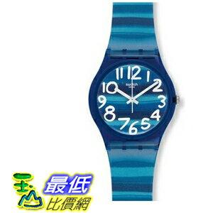[104美國直購] 手錶 Swatch GN237 Linajola Analog Blue White Plastic Folio Unisex Watch NEW