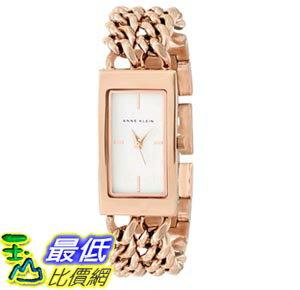 [103美國直購] Anne Klein Women's AK/1668WTRG Rectangular Rose Gold-Tone Double Chain Bracelet Watch 女士手錶 $2929