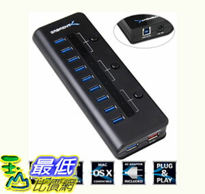 [104美國直購] 電源hub 適配器 Sabrent High Speed 10 Port USB 3.0 HUB + 5V 2.1A Smart Charging Port (HB-RUS1)