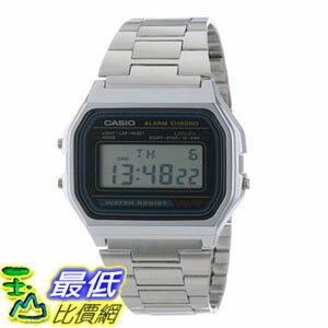 [103美國直購] 男士手錶 Casio Mens A158W-1 Stainless Steel Digital Watch