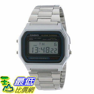[103美國直購] 男士手錶 Casio Mens A158W-1 Stainless Steel Digital Watch