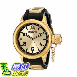 [103美國直購] 手錶 Invicta Mens 1438 Russian Diver Gold Dial Black Polyurethane Watch