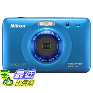 [103 美國直購 ShopUSA] Nikon 數碼相機 COOLPIX S30 10.1 MP Digital Camera with 3x Zoom Nikkor Glass Lens and 2.7-inch LCD (Blue) $6919