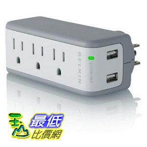 [103 美國直購 ShopUSA] Belkin 浪湧保護器 3-Outlet Mini Travel Swivel Charger Surge Protector with Dual USB Ports, 5 Charging Outlets Total (1 AMP / 5 Watt) $980