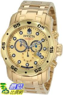[103 美國直購 ShopUSA] Invicta 手錶 Men's 0074 Pro Diver Chronograph 18k Gold Plated Stainless Steel Watch