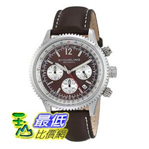 [美國直購] 男士手錶 Stuhrling Original Men's 669.03 Monaco Stainless Steel Watch with Brown Leather Band  $5559