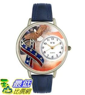 [美國直購 ShopUSA] Whimsical Watches Women's U1220035 Unisex Silver American Patriotic Navy Blue Leather And Silvertone 手錶 $1837