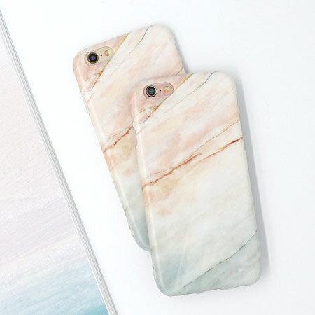 iPhone 7/7 Plus 簡約時尚珊瑚色大理石紋手機殼 TPU 磨砂 軟殼 保護殼 保護套 蘋果7 i7【N202211】