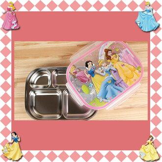大田倉 韓國進口正版 DISNEY迪士尼公主 不鏽鋼樂扣隔熱 餐盤 便當盒 兒童餐盤 附餐具盒 020750