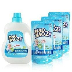 《毛寶兔》超天然2倍濃縮小蘇打植物抗菌洗衣精促銷組(1瓶+3補)