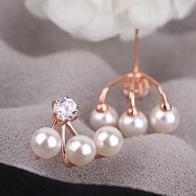 玫瑰金耳環925純銀鑲鑽耳飾~復古三顆珍珠 七夕情人節 女飾品2色73gs24~ ~~米蘭