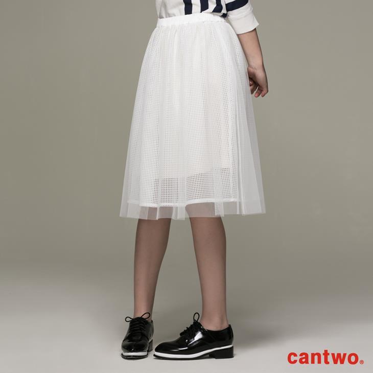 cantwo方格網紗多層及膝紗裙(共二色) 1