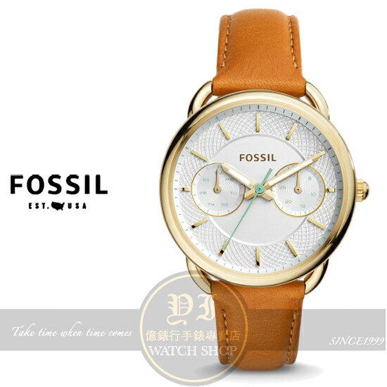 FOSSIL美國品牌Tailor優雅女伶日曆時尚真皮腕錶ES4006公司貨/情人節/禮物