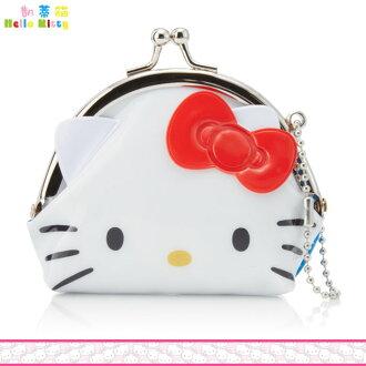 Hello Kitty 凱蒂貓 防水零錢包 帆布 珠扣 鐵扣小包 吊飾零錢包 日本進口正版 047317