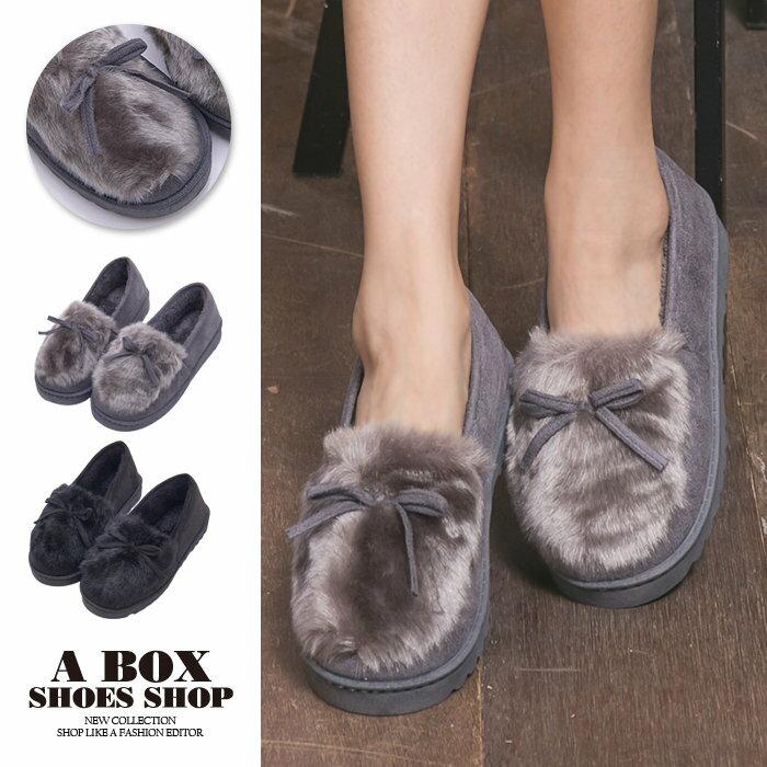 格子舖*【ASM09】*限時免運*可愛蝴蝶結麂皮舒適絨毛 保暖刷毛內裡 2.5CM圓頭包鞋 雪鞋 雪包鞋 麵包鞋 2色 0