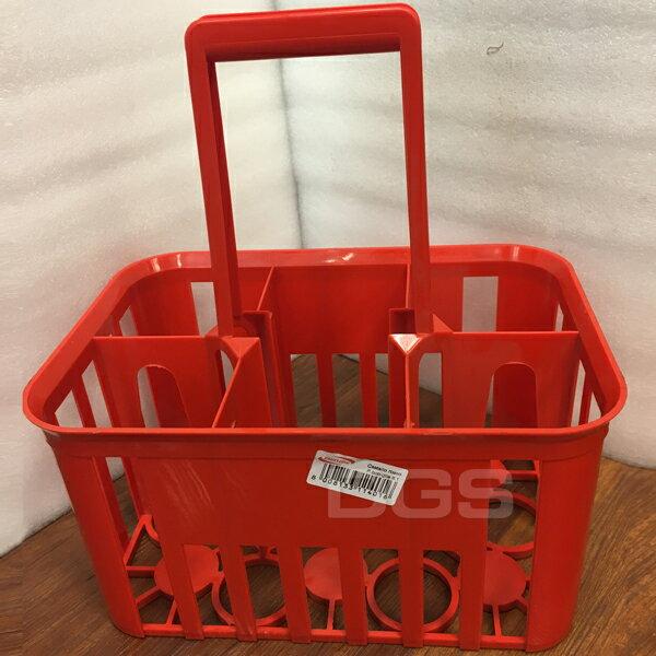 《Plastime》試劑瓶用塑膠提籃6孔紅色