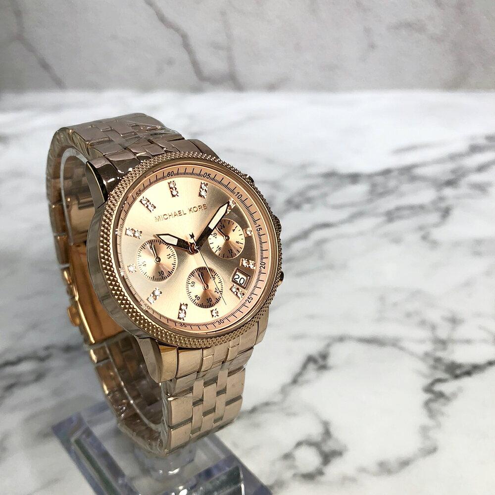 美國百分百【Michael Kors】手錶 MK6077 女錶 MK 不鏽鋼 三眼 水鑽 禮盒專櫃配件 玫瑰金 J029