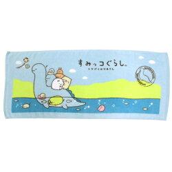 日貨 角落生物 橫式 恐龍藍色毛巾 毛巾 浴巾 運動巾 海灘巾 角落小夥伴 San-x 正版 授權 J00015352