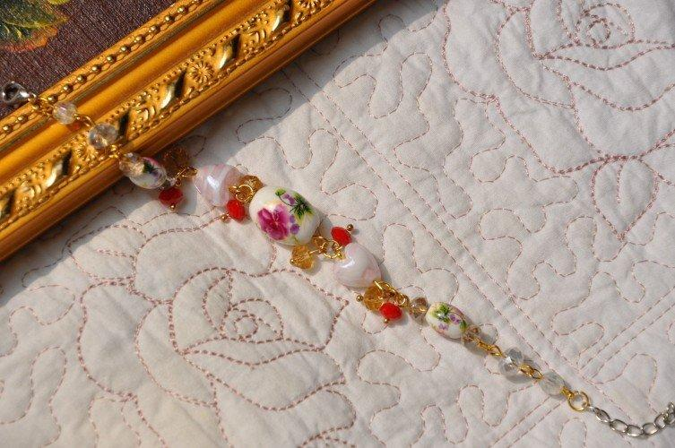 新品飾品純手工手鏈陶瓷花手串手鐲 完美