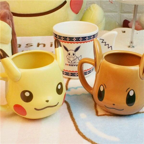 =優生活=日本Pokemon寶可夢 神奇寶貝 皮卡丘/伊布 經典馬克杯 珍藏水杯 立體造型馬可杯 禮物
