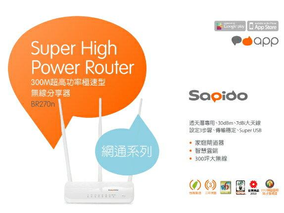 ★綠光能Outlet★SAPIDO BR270N 300M 超高功率極速型無線分享器