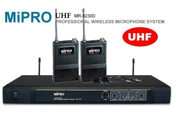 MIPRO 『嘉強』UHF超高頻無線麥克風MR-823(黑),雙領夾式麥克風設計