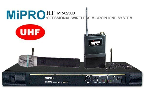 MIPRO~嘉強~UHF超高頻無線麥克風MR~823^(黑色^)~手握 領夾式麥克風~