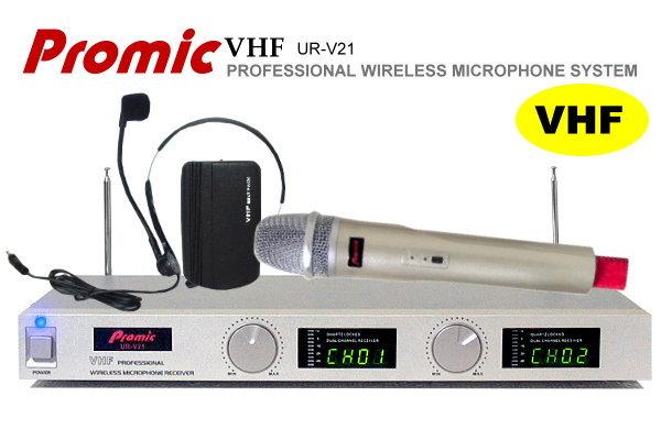 Promic超高頻無線麥克風UR-V21【頭戴+手握】教學.會議專用/雙頻鎖碼