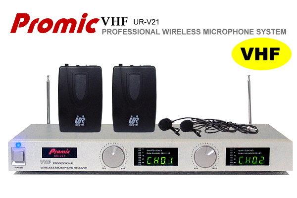 Promic超高頻無線麥克風UR-V21【雙領夾】教學.會議專用/雙頻石英鎖碼