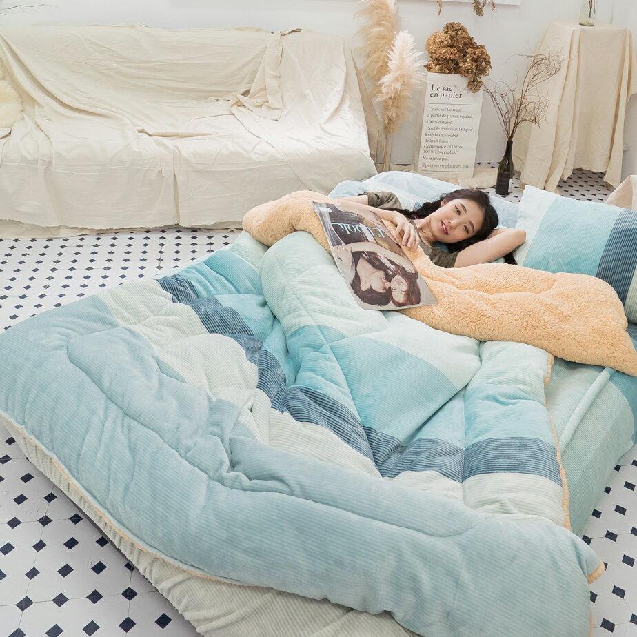 Sweet-Blue 羊羔絨暖被 內有充棉 可當棉被使用 150cmX195cm (正負5cm) 台灣製 4