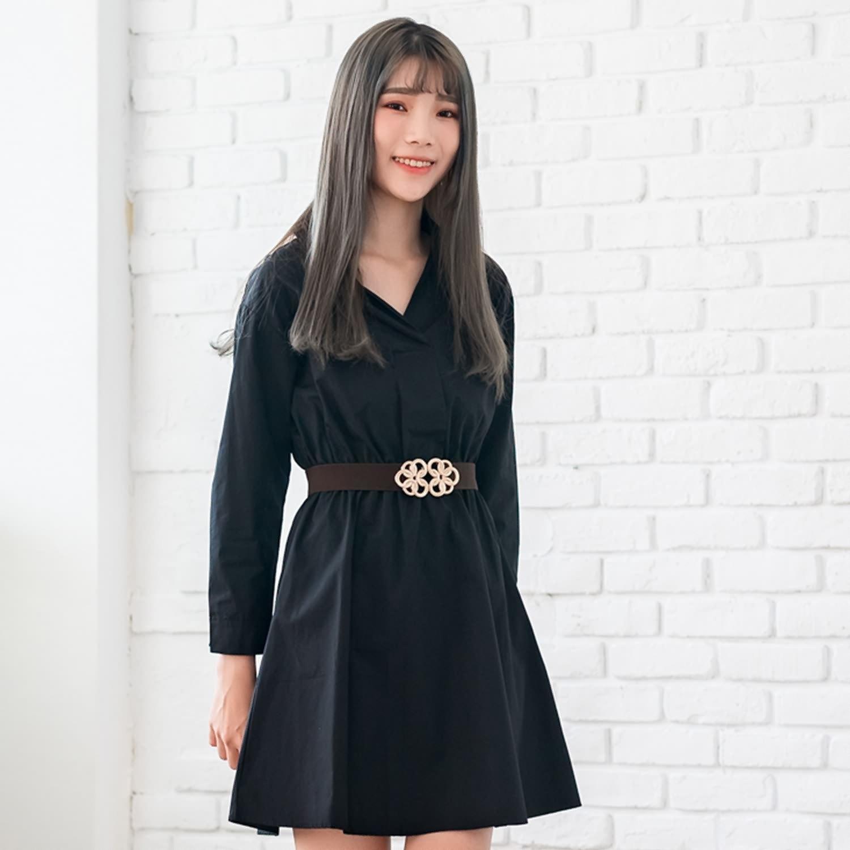 氣質洋裝--專業素面彈性腰線寬鬆百搭Y型襯衫領長袖連衣裙(黑.咖M-3L)-A354眼圈熊中大尺碼 0