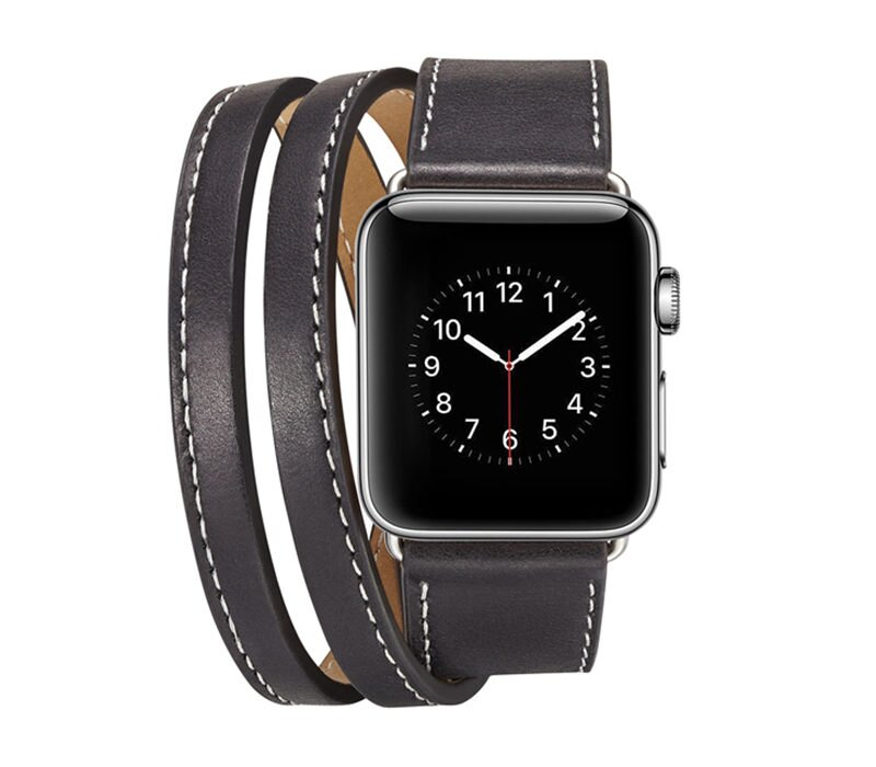 【APP下單滿799折100】Apple Watch 經典雙層真皮錶帶 蘋果手錶 1/2/3/4代 38 40 42 44mm