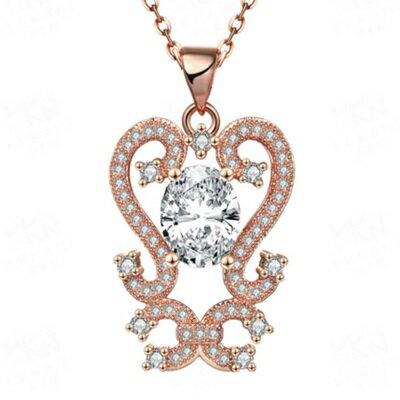 玫瑰金項鍊 純銀水晶吊墜~鑲鑽典雅大方母親節生日情人節 女飾品2色73br117~ ~~米