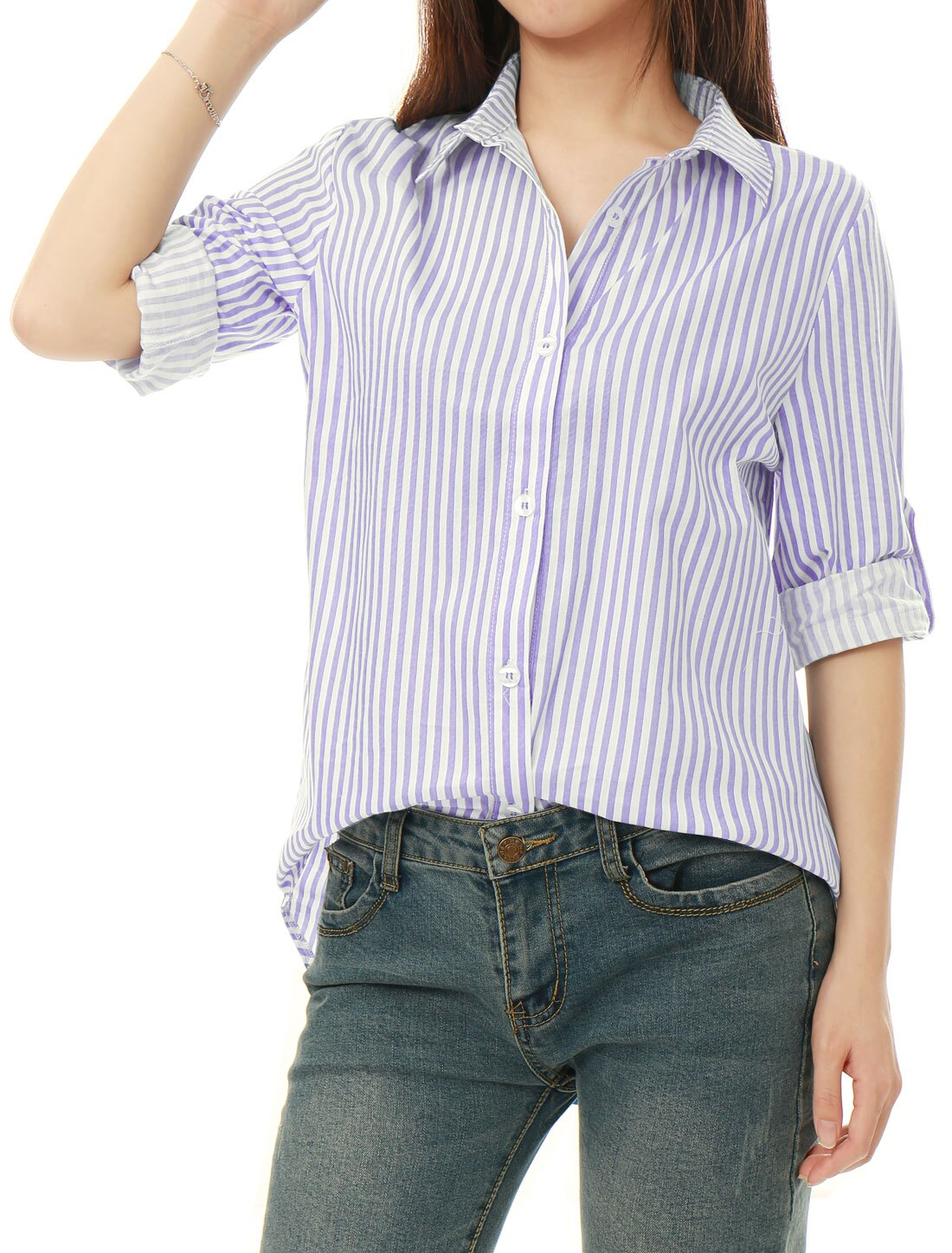 Unique Bargains Women Striped High Low Hem Roll Up Sleeves Shirt