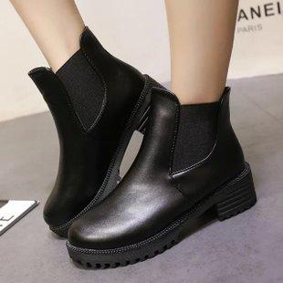 歐美風英倫時尚叛逆拼接粗跟低跟鞋裸靴-黑35-40【a521605649409】