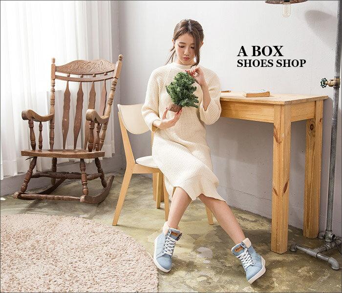 格子舖*【AA5331】韓國街頭時尚 流行絨布拼接牛仔帆布 繫帶短筒休閒靴 短靴 帆布鞋 3色 1
