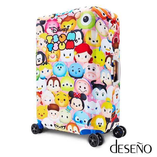 【加賀皮件】DesenoDisney迪士尼TSUMTSUM彈性收納式箱套行李箱套L號彩色B1129-0006