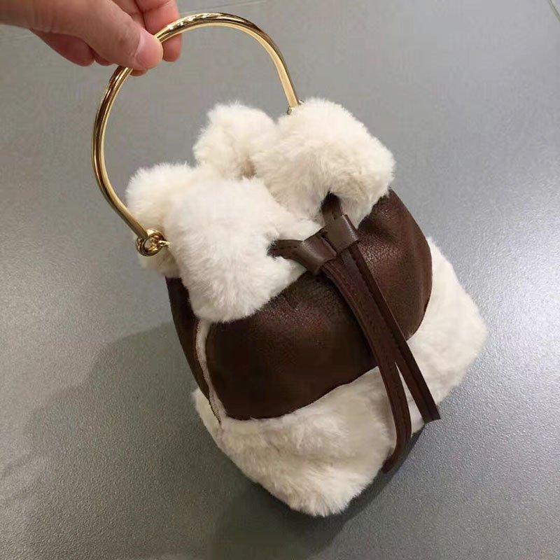 韓版可愛毛毛手提包迷你水桶包復古撞色單肩包斜背包 1
