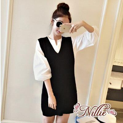 Nillie‧學院風燈籠袖襯衫加長版背心時尚兩件式套裝01/26(黑)【N87151】現+預