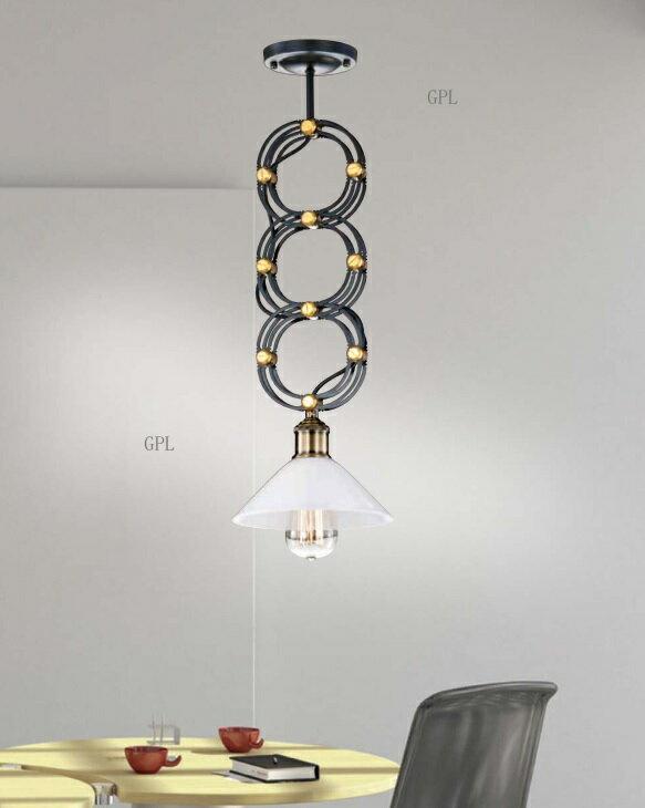 鐵藝白玉玻璃可伸縮吊燈 E27 * 1