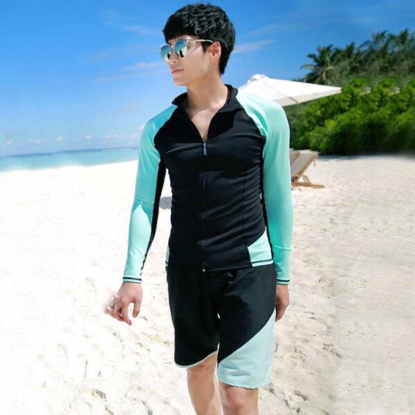 男泳裝色塊沙灘運動防曬外套兩件套男長袖泳裝【SFM2111】BOBI0517