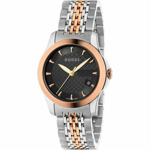 Gucci 古吉YA126512雙色玫瑰金小碼經典G面時尚腕錶/黑面27mm