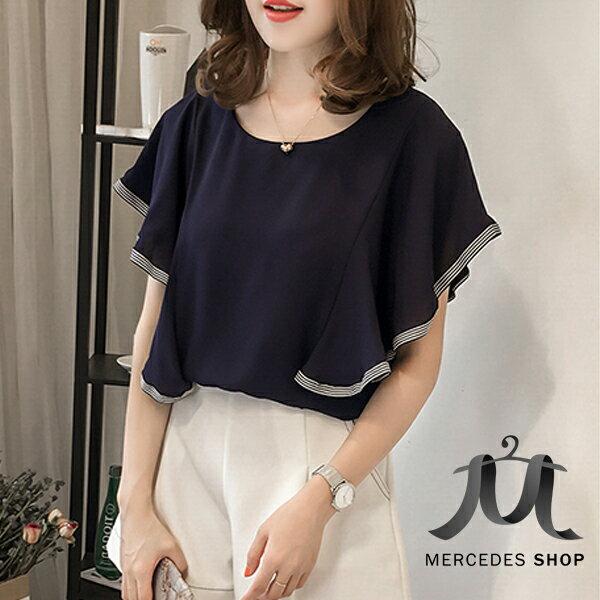 中大尺碼韓國條紋邊袖拼接荷葉袖雪紡衫短袖上衣(M-4XL,2色)