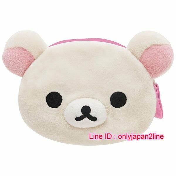 【真愛日本】16101000006拉鍊零錢包-奶熊大頭    SAN-X 懶熊  奶熊 拉拉熊   皮包 零錢夾 正品