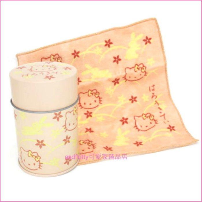 asdfkitty可愛家☆KITTY粉橘色鐵皮空罐+小方巾-收納罐/茶葉罐/擺飾/禮物罐-日本製